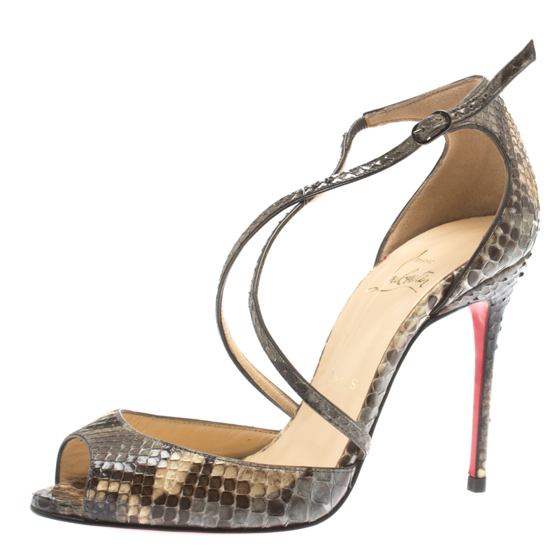 ab507469e106 5) Christian Louboutin Two Tone Python Leather Peep Toe Cross Strap Sandals  Size 36