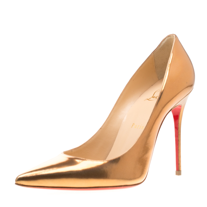 Christian Louboutin Metallic Bronze Patent Leather Decollete 554 Pointed Toe Pumps Size 40