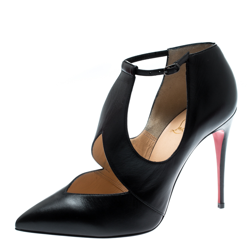 23399bc8360 Christian Louboutin Black Leather Ankle Strap Pointed Toe Booties Size 38.5