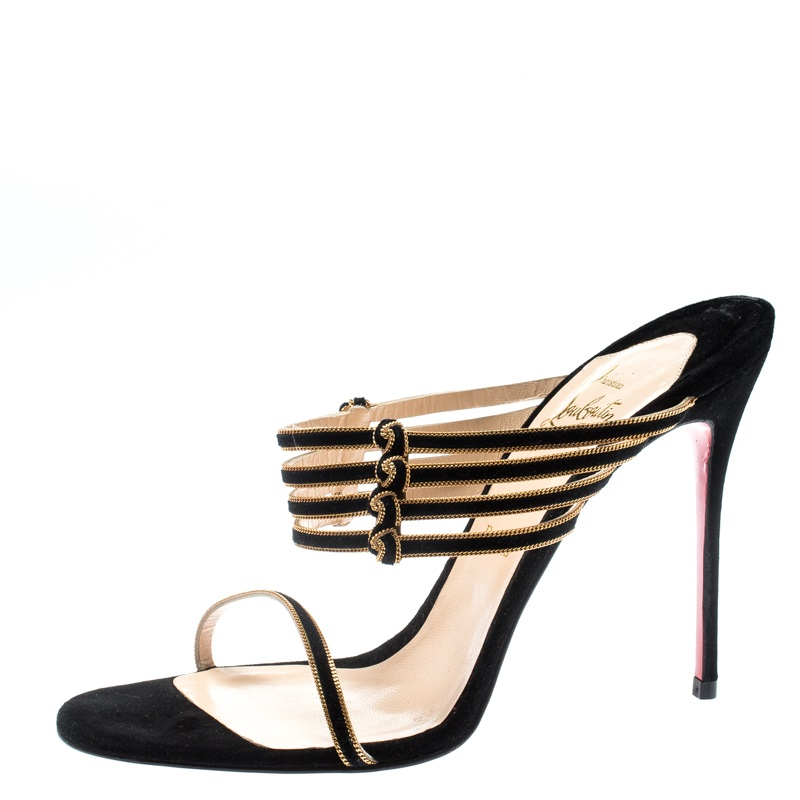 e18c1586827 Christian Louboutin Black Suede Lawrencia Strappy Slide Sandals Size 39.5