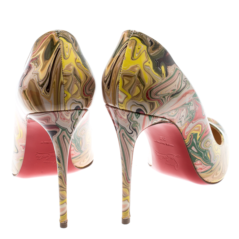 new style f40f6 c038b Christian Louboutin Multicolor Marble Print Patent Leather Dorissima Pumps  Size 37
