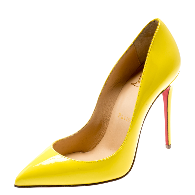 d79196d1257 Christian Louboutin Yellow Patent Leather So Kate Pointed Toe Pumps Size 36