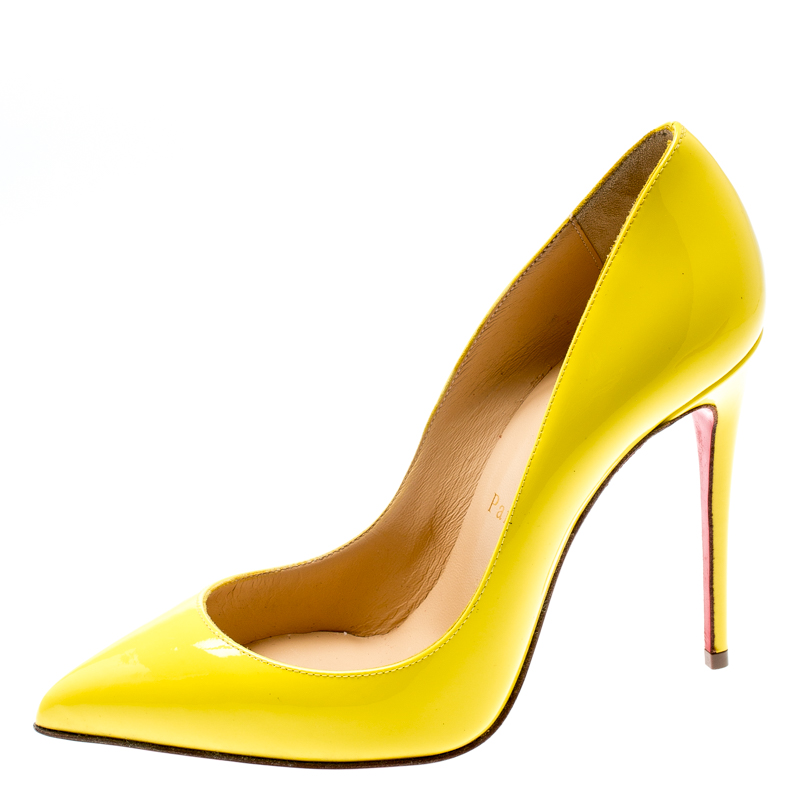 Christian Louboutin Yellow Patent Leather So Kate Pointed Toe Pumps Size 36