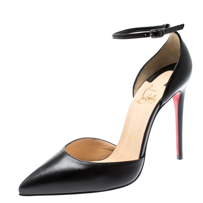 c9e6a9b369fc ... Christian Louboutin Black Leather Uptown Ankle Strap Pointed Toe  D orsay Sandals Size 36. nextprev. prevnext