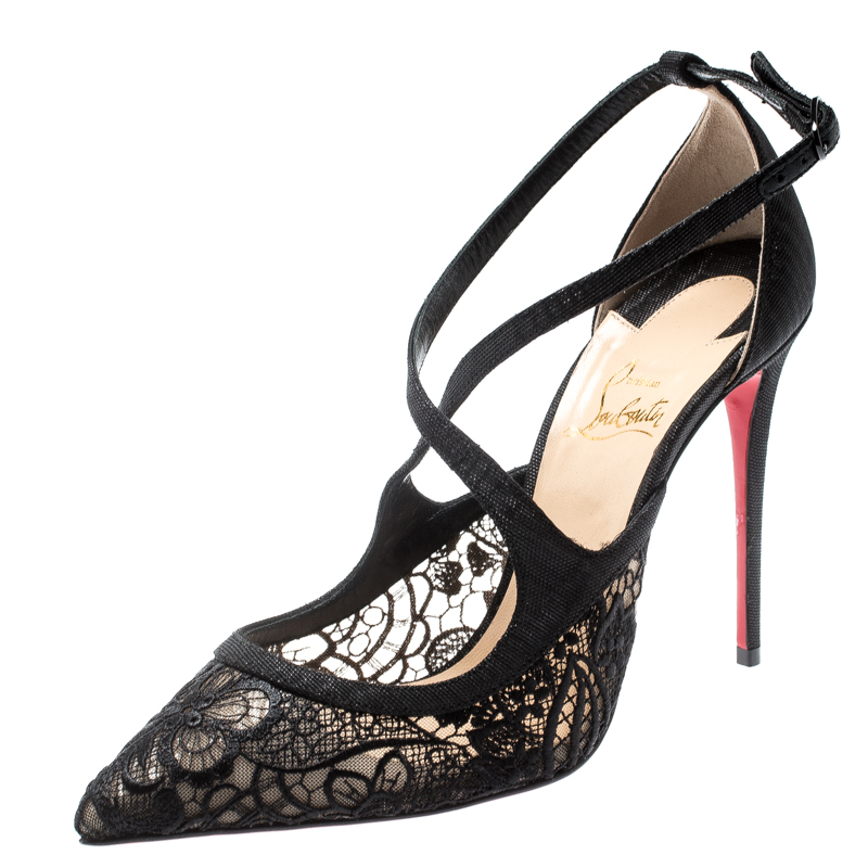 buy online 11e3a 51671 Christian Louboutin Black Lace And Fabric Twistissima Pointed Toe Ankle  Strap Sandals Size 38