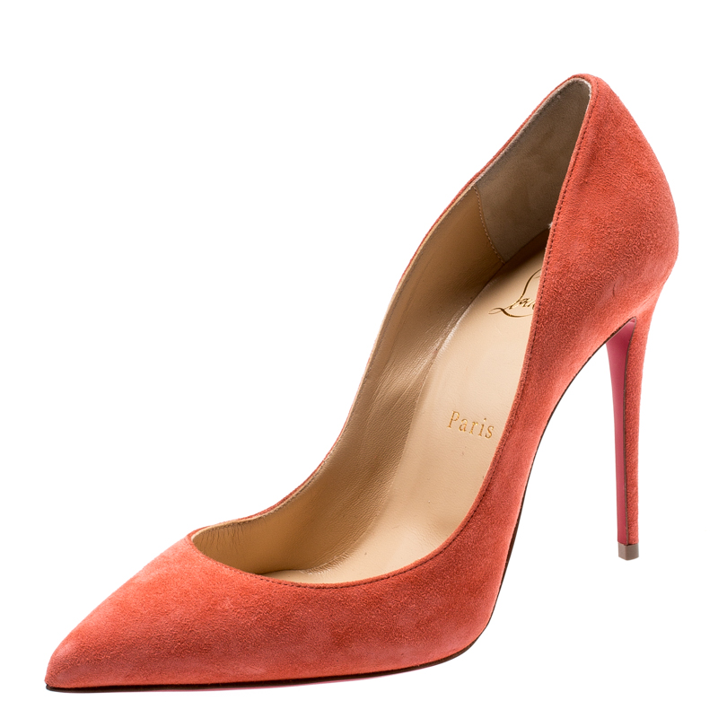 uk availability ae553 f0535 Christian Louboutin Coral Pink Suede Pigalle Follies Pointed Toe Pumps Size  37.5