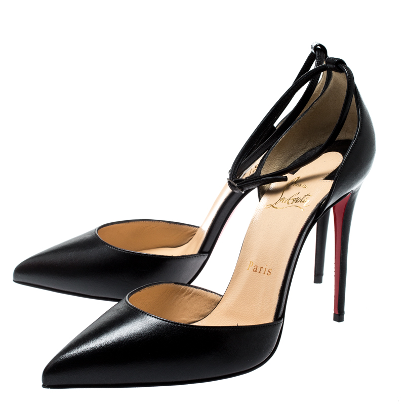 new styles 82a6a d7000 Christian Louboutin Black Leather Uptown Ankle Strap Pointed Toe D'orsay  Sandals Size 38.5