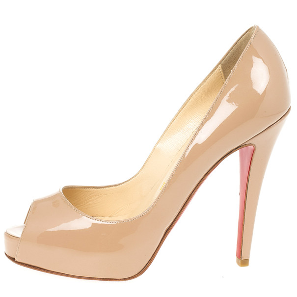 best loved 9c71b a138d Christian Louboutin Nude Patent Very Prive 120mm Peep Toe Pumps Size 35.5