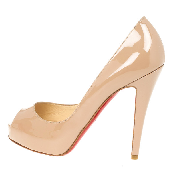 best loved 9ef4b 7aa29 Christian Louboutin Nude Patent Very Prive 120mm Peep Toe Pumps Size 35.5