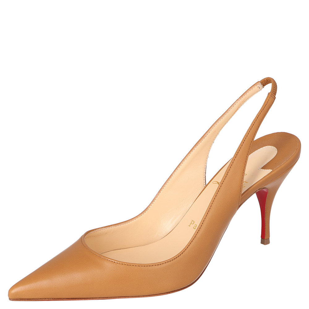 Christian Louboutin Tan Leather Clare Slingback Pointed Toe Pumps Size 39