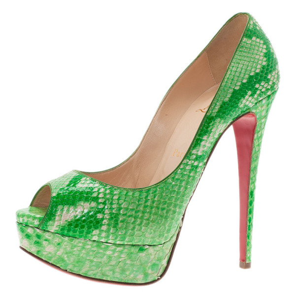 sports shoes c3d90 3a64f Christian Louboutin Green Python Lady Peep Toe Platform Pumps Size 37.5