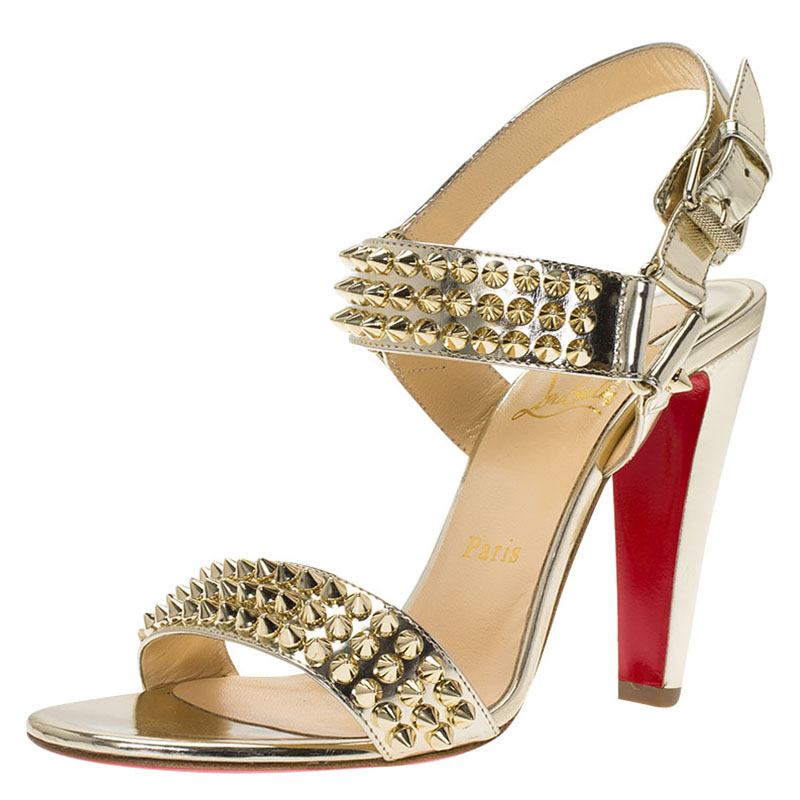 28708e84c Buy Christian Louboutin Gold Spike Leather Bikee Bike Sandals Size 37.5  75742 at best price | TLC