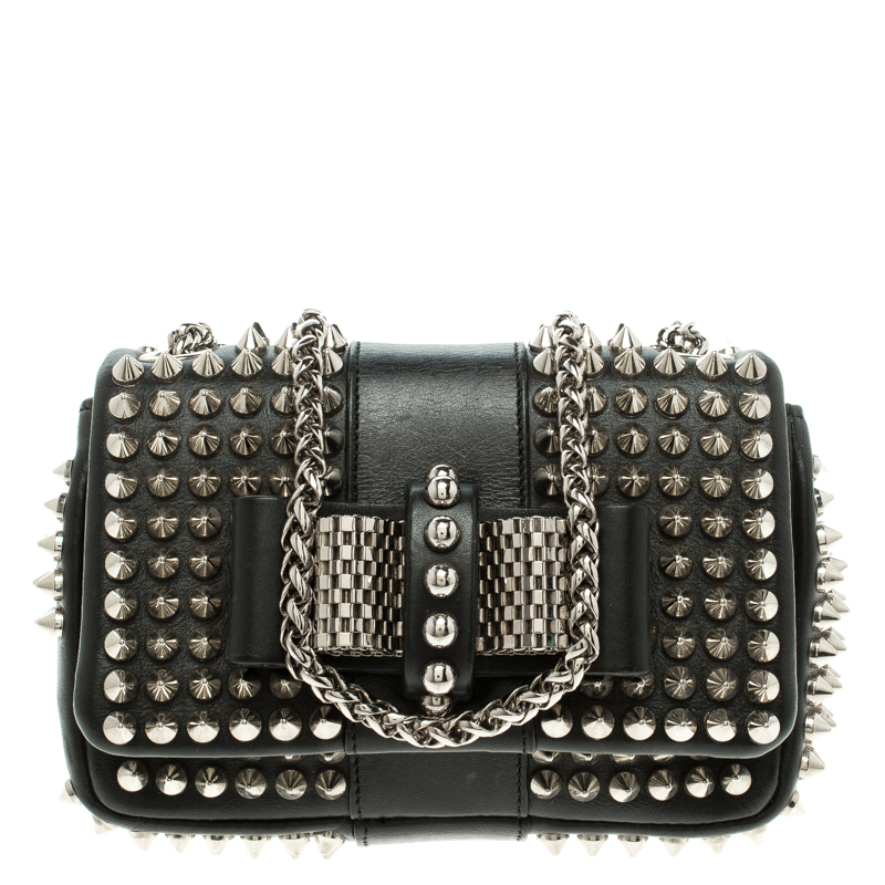 1ccb30a38ce Christian Louboutin Black Leather Mini Spiked Sweet Charity Shoulder Bag