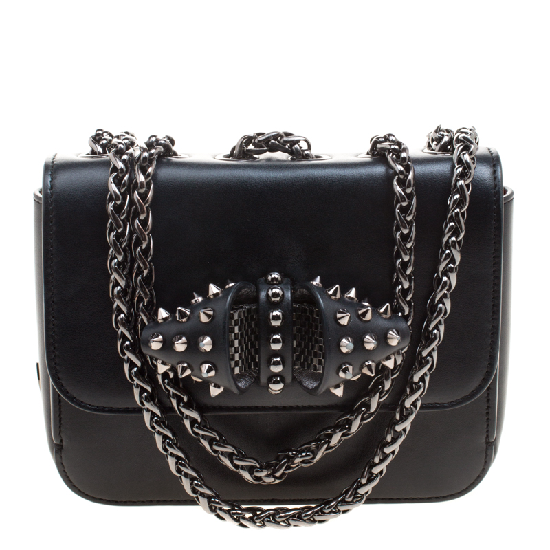 8a7fe14e0a9 Christian Louboutin Black Leather Sweet Charity Loubi Bow Shoulder Bag