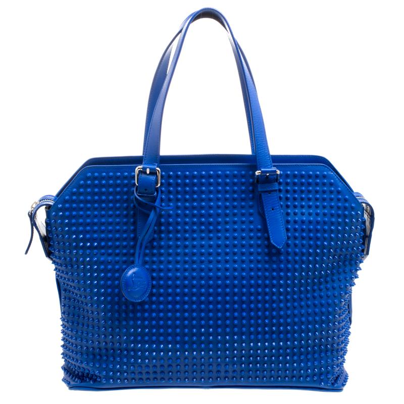 حقيبة شوبر كريستيان لوبوتان سيد جلد أزرق مرصعة