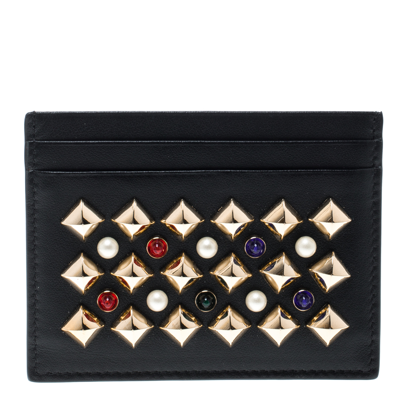 ca0cb4b9055 Christian Louboutin Black Leather Studded Kios Card Holder