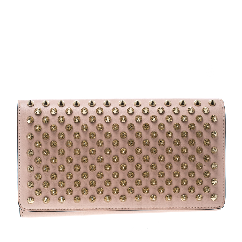 Christian Louboutin Blush Pink Leather Spiked Paloma Clutch