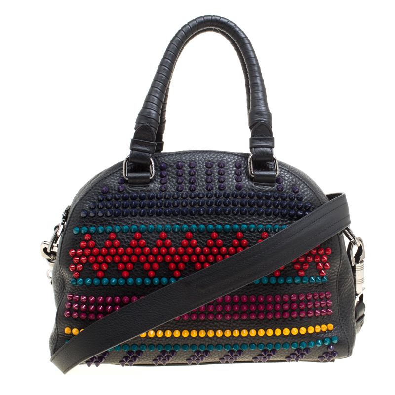 acc1127a79f Christian Louboutin Black/Multicolor Leather Spike Studded Bowler Bag