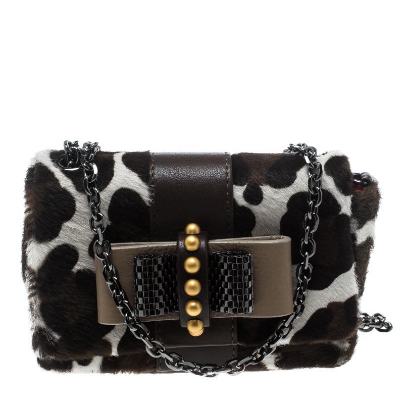 9aabc98f5a78 ... Christian Louboutin White Animal Print Calfhair Mini Sweet Charity  Shoulder Bag. nextprev. prevnext