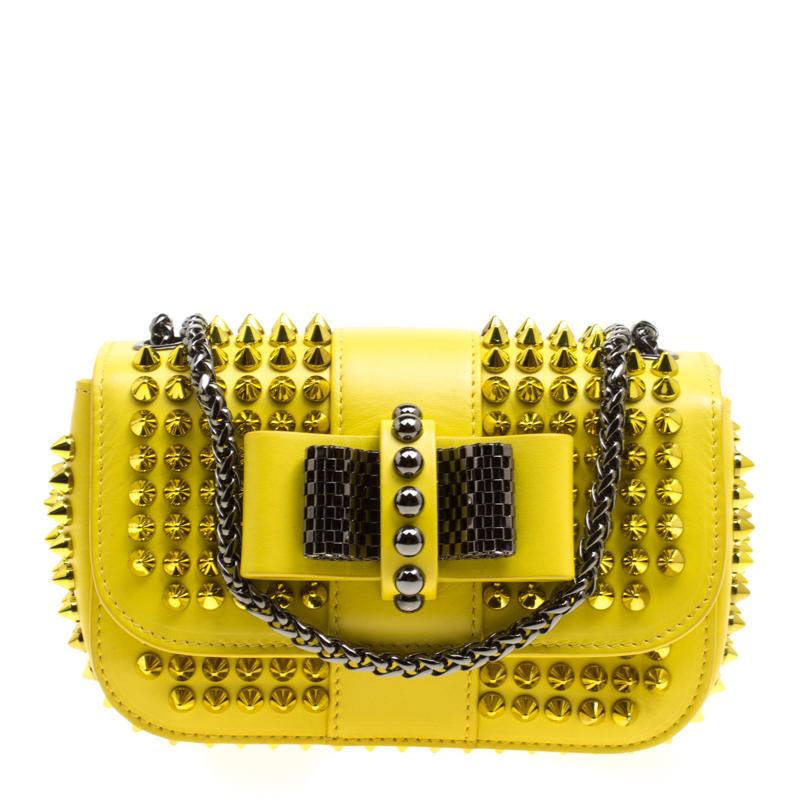 e1019321bc5 Christian Louboutin Yellow Leather Mini Spiked Sweet Charity Crossbody Bag