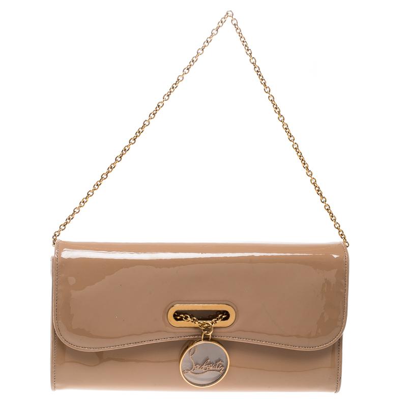 cf96e541602 Christian Louboutin Beige Patent Leather Riviera Clutch