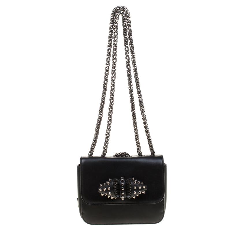 2643b673cf1 Christian Louboutin Black Leather Sweet Charity Loubi Bow Shoulder Bag