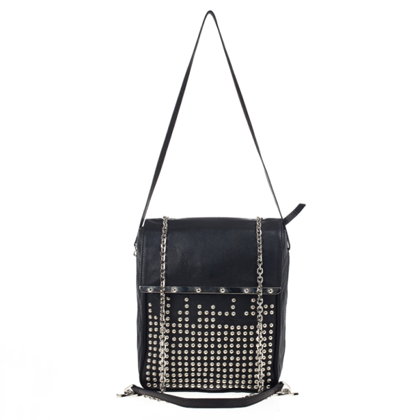Christian Louboutin Black Edie Studded Leather Shoulder Bag