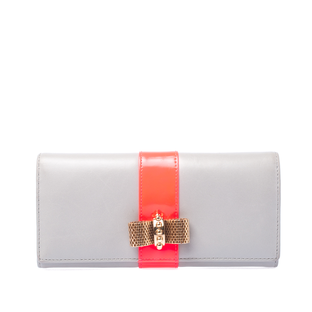 8d8380b8555 Christian Louboutin Grey/Neon Leather Sweet Charity Continental Wallet