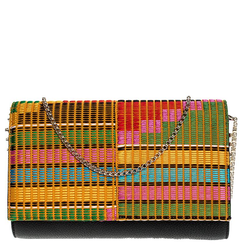 حقيبة كلتش كريستيان لوبوتان سلسلة بلوما قماش مطرز وجلد متعددة الألوان/ سوداء