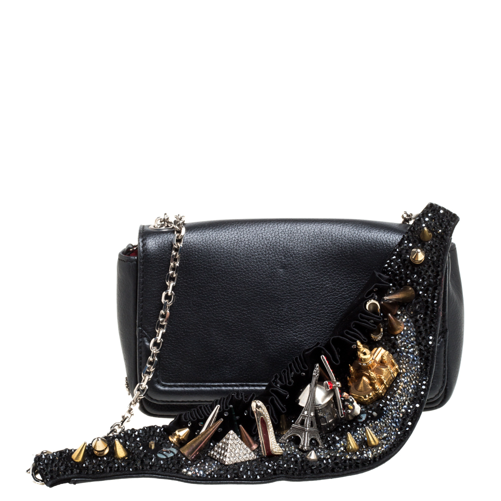 Pre-owned Christian Louboutin Black Leather Artemis Studded Shoulder Bag