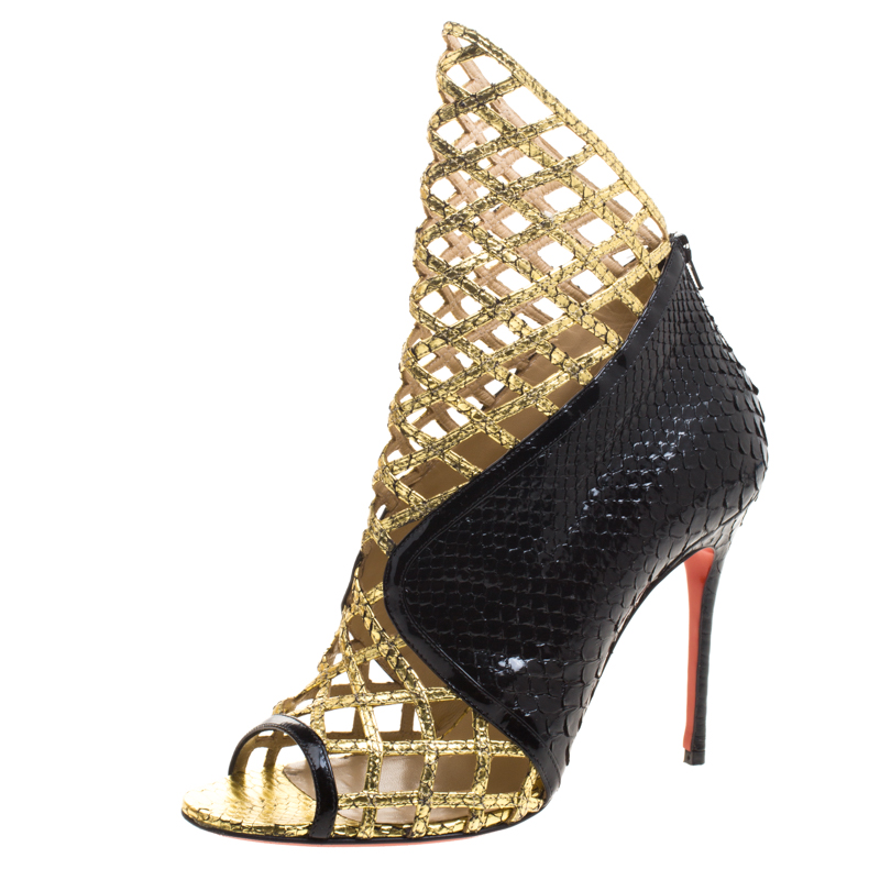 lowest price e6c93 7c281 Christian Louboutin Black and Gold Metallic Python Bougliona Cutout Peep  Toe Booties Size 38.5