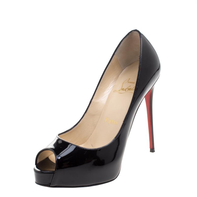 7776a0158f3b ... Christian Louboutin Black Patent Leather New Very Prive Peep Toe Pumps  Size 35. nextprev. prevnext