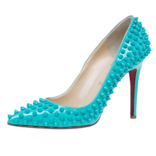 eb7042bdfe6e ... Christian Louboutin Turquoise Patent Pigalle Spikes Pumps Size 38.  nextprev. prevnext
