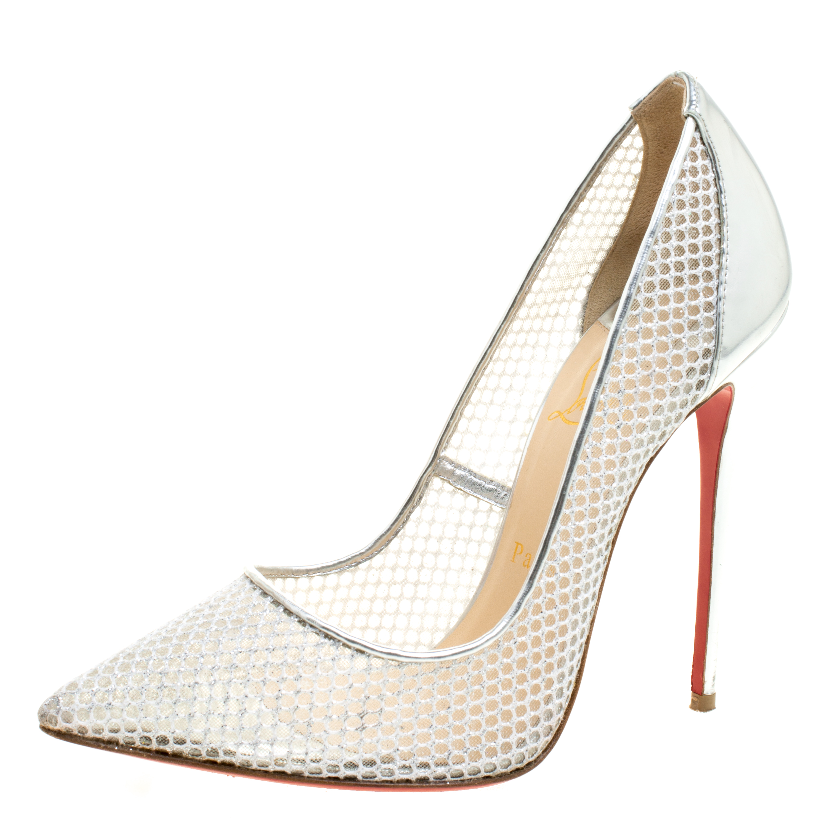 pretty nice e5d45 b351a Christian Louboutin Silver Mesh Follies Resille Pointed Toe Pumps Size 39