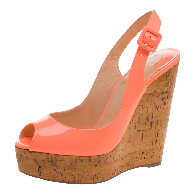 d35c084d6dc Buy Christian Louboutin Florescent Pink Patent Leather Une Plume ...