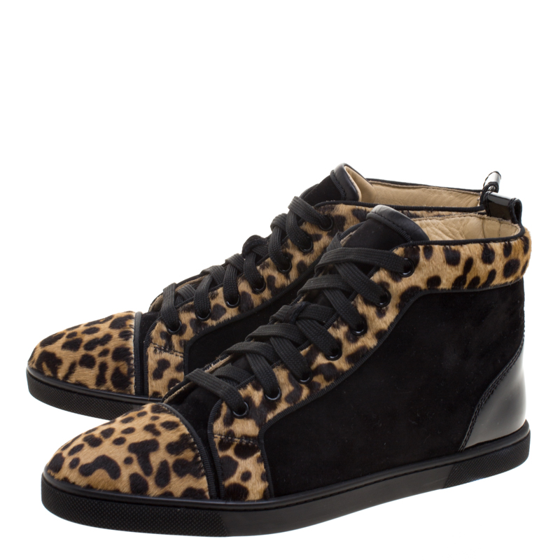 buy popular f9c05 7afa8 Christian Louboutin Leopard Print Pony Hair And Suede Bip-Bip High Top  Sneakers Size 38.5