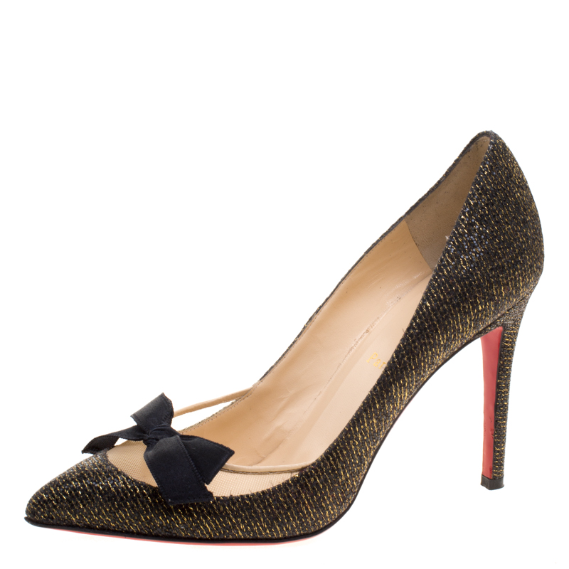 dfb97152f8a8 Buy Christian Louboutin Black Glitter Lamè Love Me Bow Pointed Toe ...