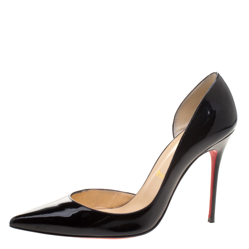 brand new ae075 f2b4d Christian Louboutin Black Patent Leather Iriza D'orsay Pointed Toe Pumps  Size 39.5