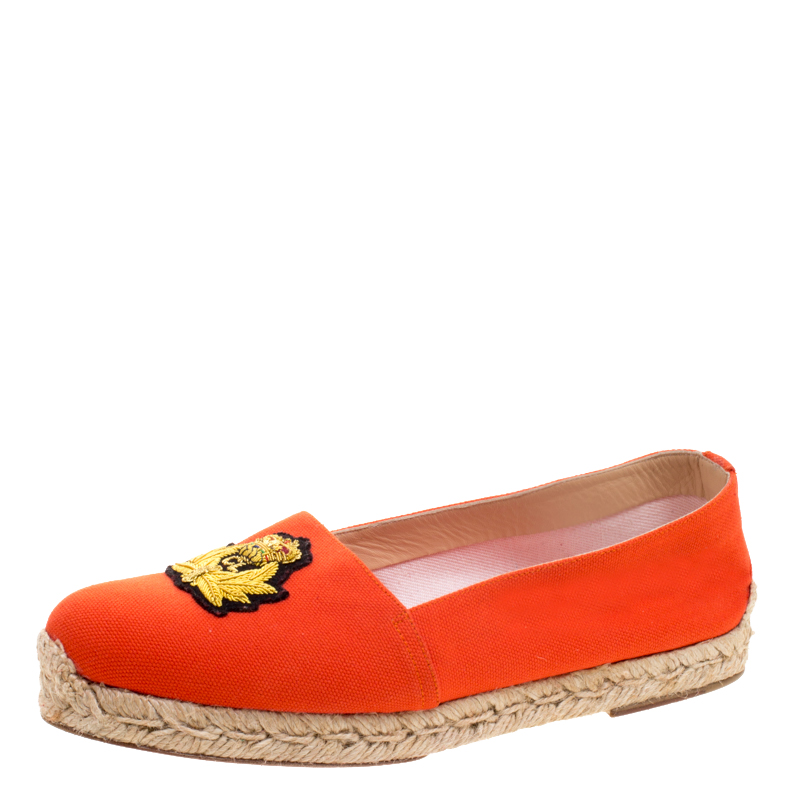 a51ca2c2dd4 Christian Louboutin Orange Canvas Gala Embroidered Crest Espadrille Loafers  Size 38