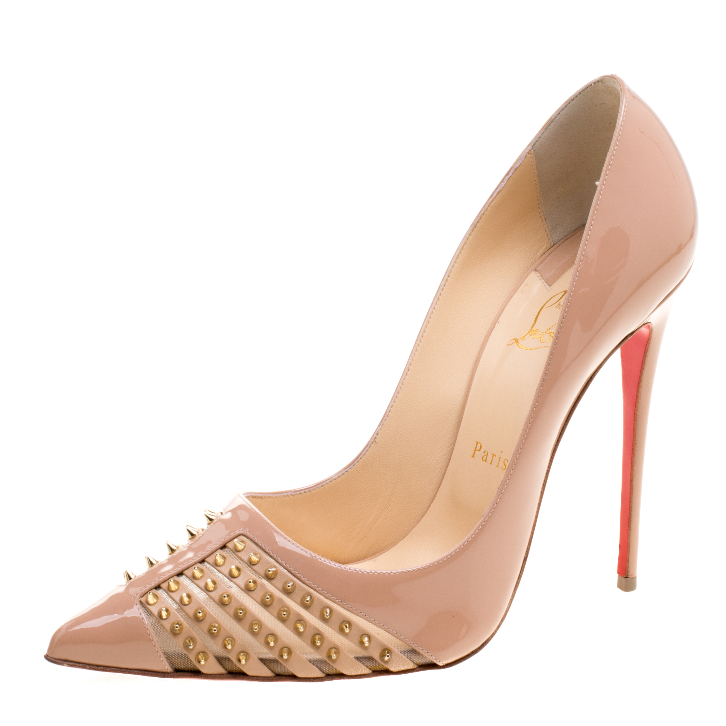 newest 316fe 1496e Christian Louboutin Beige Patent Leather Bareta Spikes Pointed Toe Pumps  Size 41