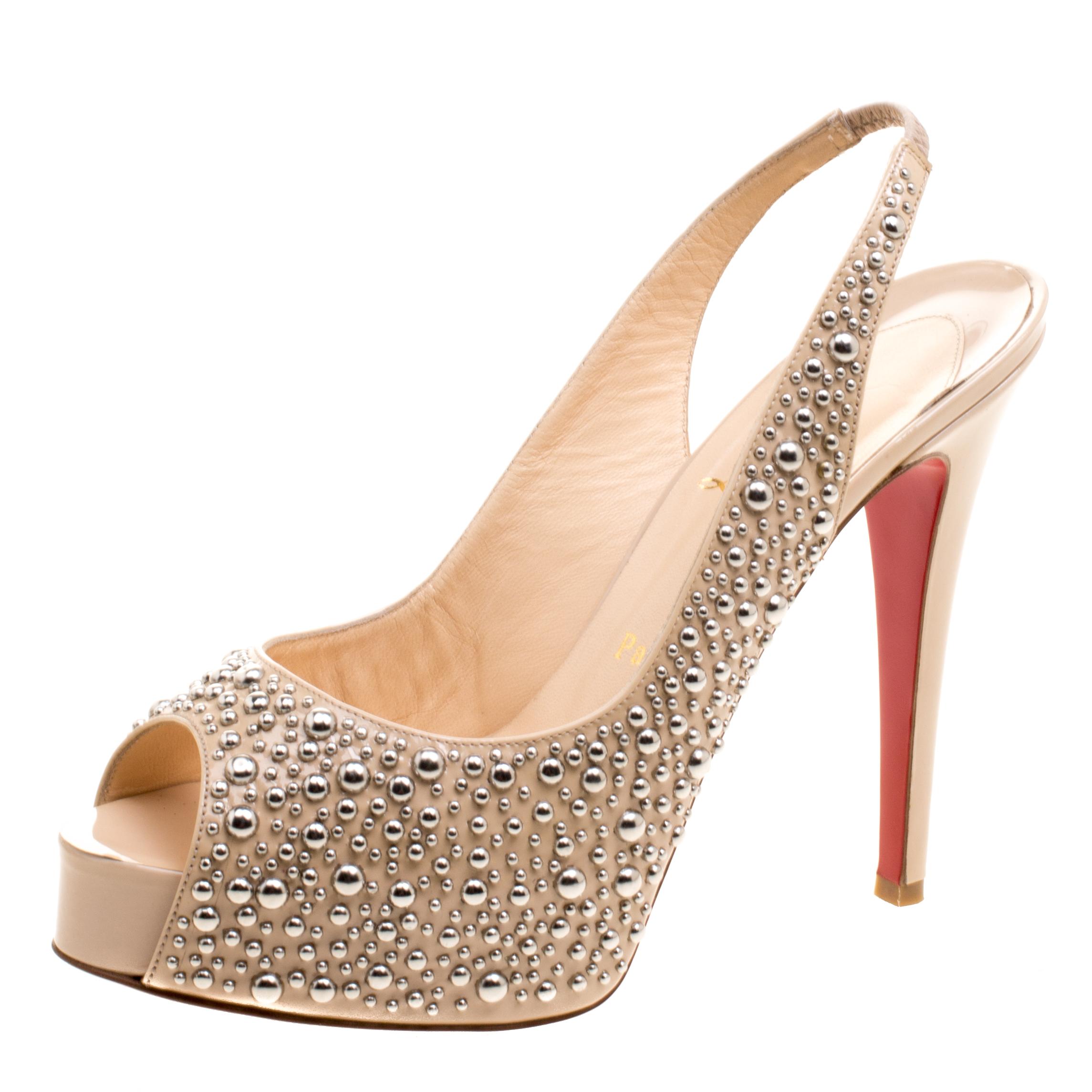 9ff77044bc02 ... Christian Louboutin Beige Studded Patent Leather Star Prive Peep Toe Slingback  Sandals Size 39. nextprev. prevnext