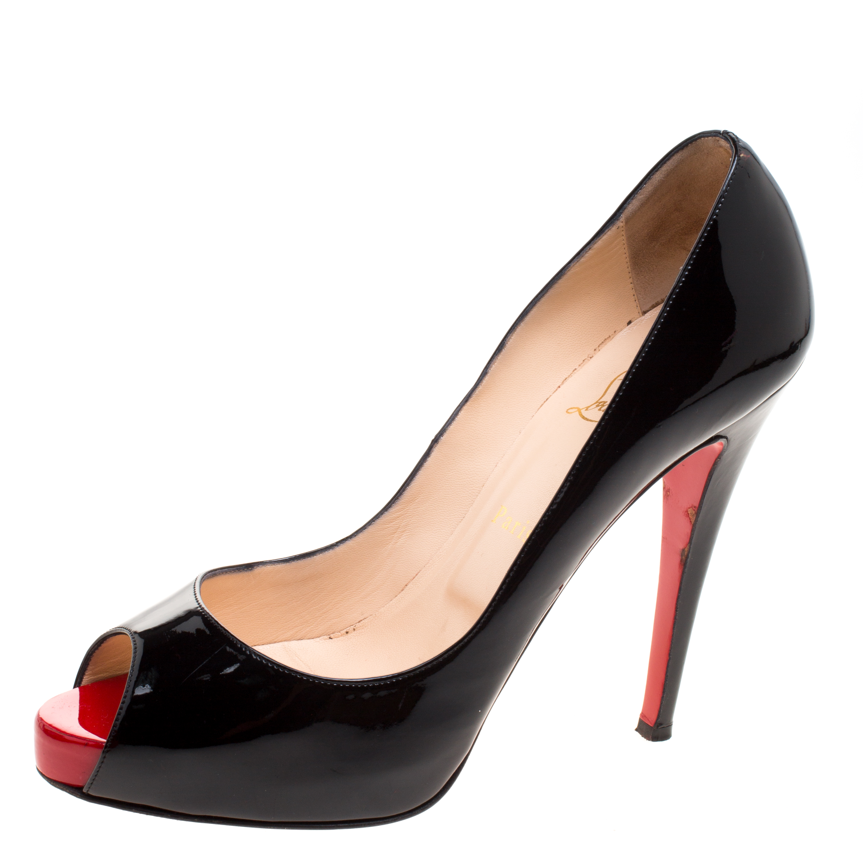 separation shoes c67fb 662fb Christian Louboutin Black Patent Leather Very Prive Peep Toe Pumps Size 41.5