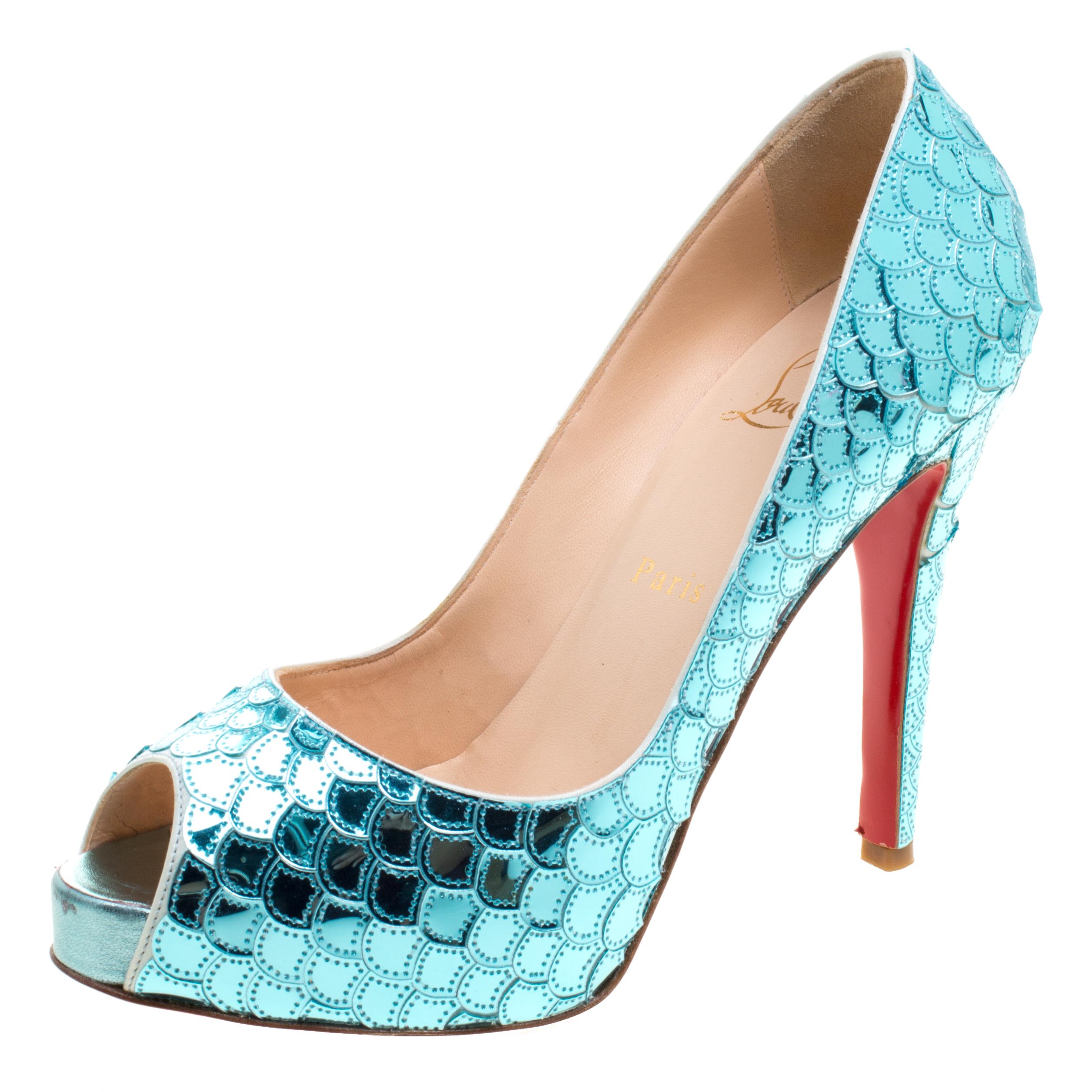 Buy Christian Louboutin Metallic Blue Scaled Leather Poseidon Peep ... caba664322d4