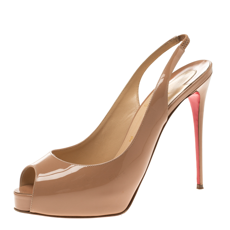 a0fda4da8d3 Christian Louboutin Beige Patent Leather Private Number Peep Toe Slingback  Sandals Size 39.5