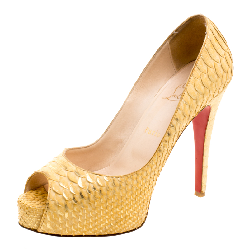 a91202e329 ... Christian Louboutin Metallic Gold Python Leather Altadama Peep Toe Pumps  Size 40. nextprev. prevnext