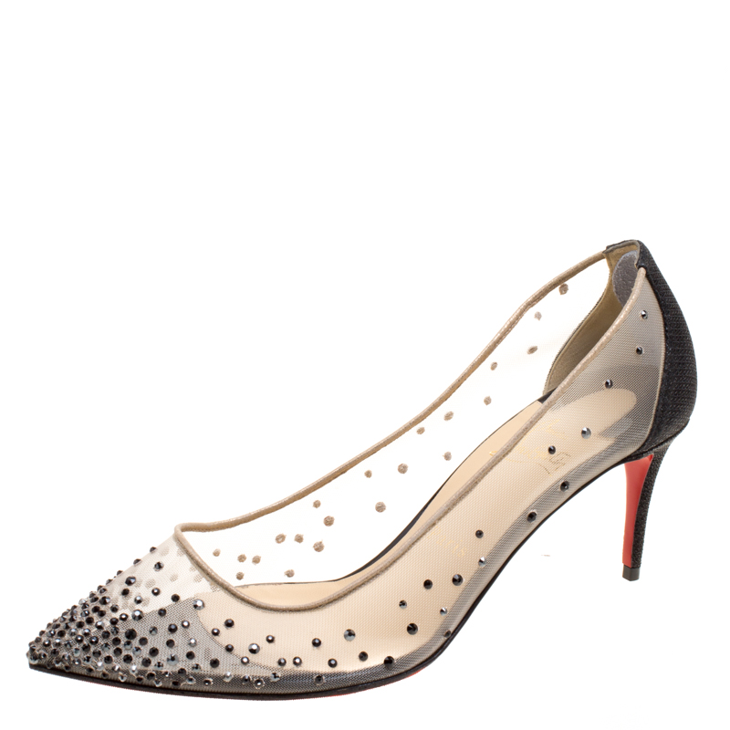 7ed0d8070ba Buy Christian Louboutin Crystal Embellished Mesh Follies Strass ...