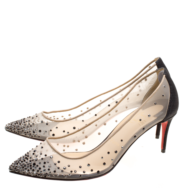 low cost 61159 e25e5 Christian Louboutin Crystal Embellished Mesh Follies Strass Pointed Toe  Pumps Size 38