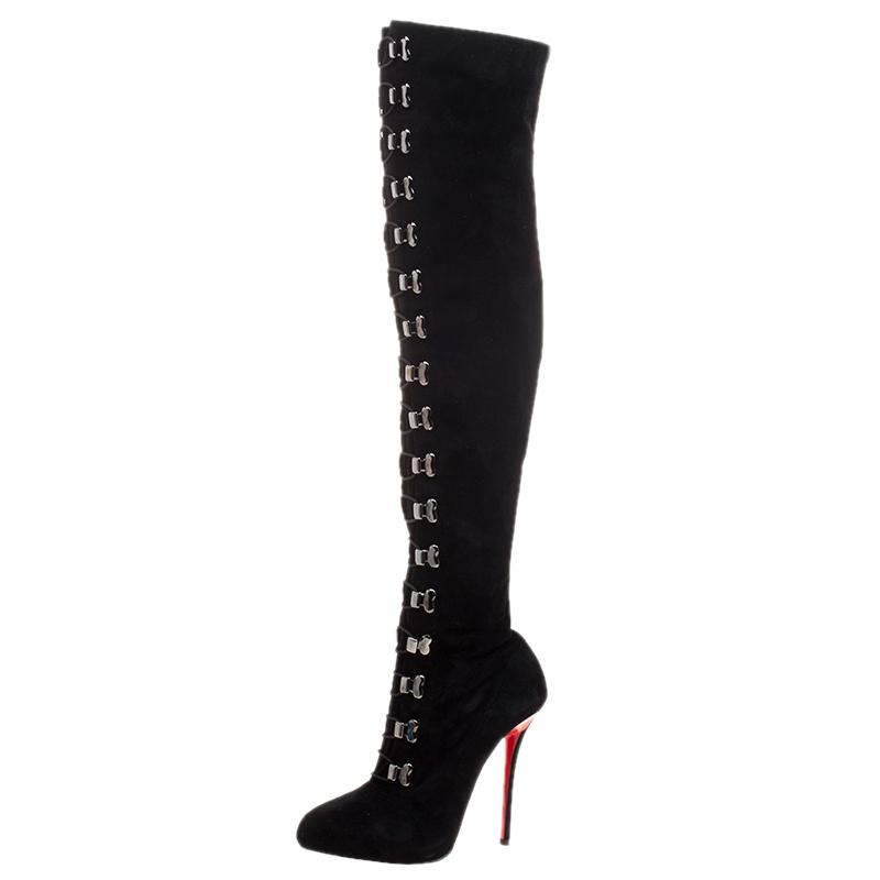 f9ba5feb0da ... Christian Louboutin Black Suede Croche Knee Length Boots Size 38.  nextprev. prevnext