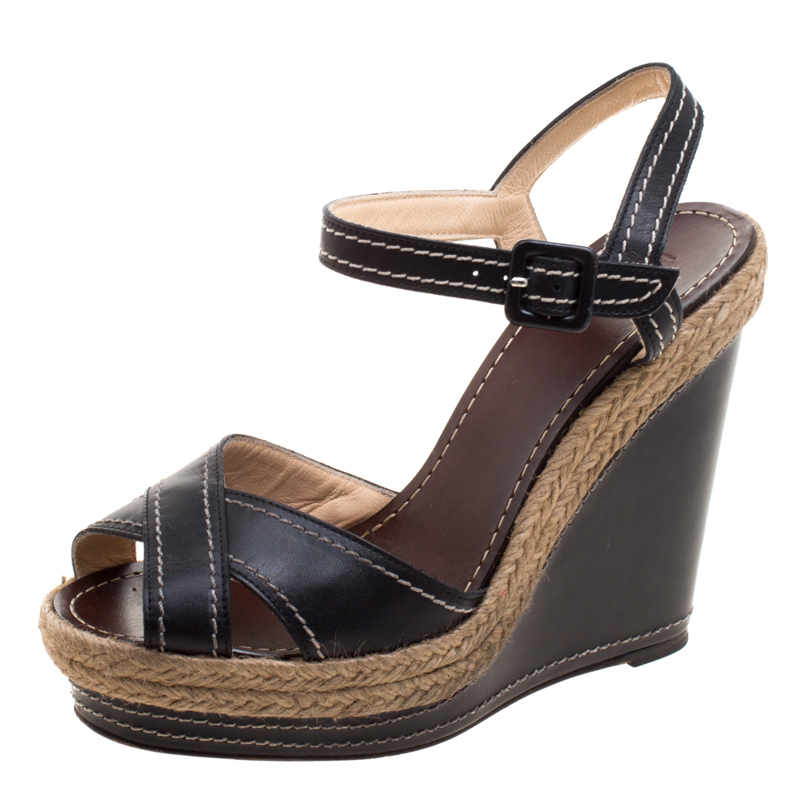 e5780dd420ff ... Christian Louboutin Black Leather Almeria Cross Strap Espadrille Wedge  Sandals Size 39. nextprev. prevnext