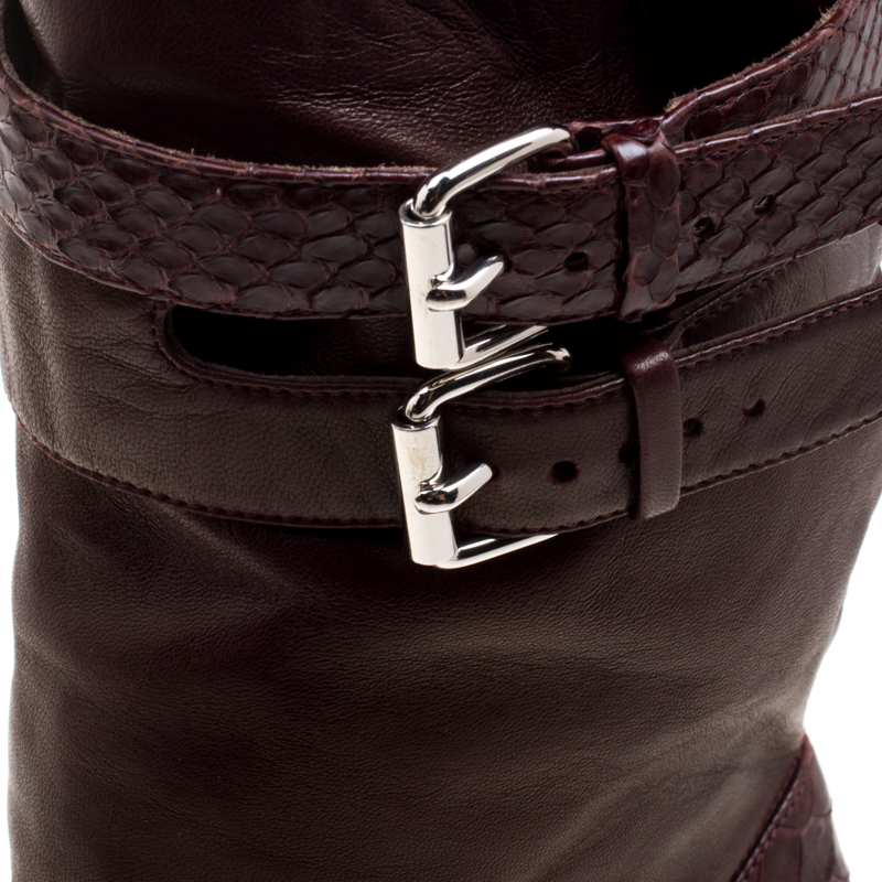 Christian Louboutin Dark Burgundy Python and Leather Loubi Bike Boots Size 39